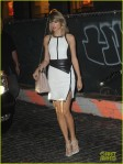 Taylor Swift arrived home from Jimmy Fallon show in a black and white dress in NYC